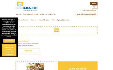 Screenshot of FAQ Page algistbruggeman.be - FAQ: beantwoorden professionele vragen over brood en gist | Algist Bruggeman - captured Dec. 18, 2018
