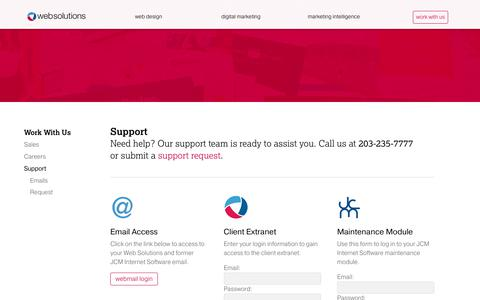 Screenshot of Support Page Login Page websolutions.com - Support | Web Solutions, Inc. - captured Oct. 1, 2018