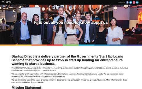 Screenshot of About Page startupdirect.org - About Start Up Loans from Startup Direct - captured Sept. 21, 2018
