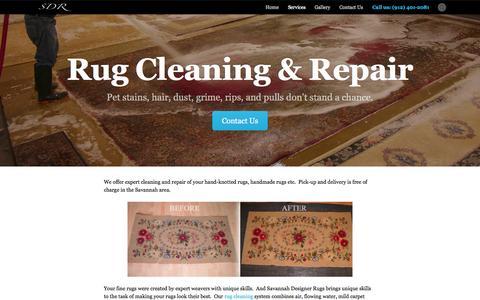 Screenshot of Services Page savannahrugs.com - Services - Savannah Designer Rugs - captured Oct. 4, 2014