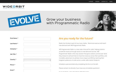 Screenshot of Landing Page wideorbit.com - WideOrbit | Programmatic Radio is here! - captured Aug. 20, 2016
