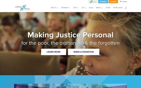Screenshot of Home Page justiceandmercy.org - Justice and Mercy International | making justice personal for the poor, the orphaned and the forgotten - captured Feb. 12, 2016