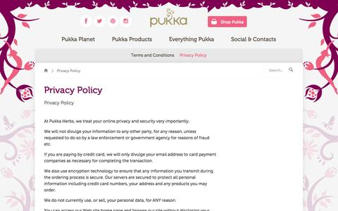 Screenshot of Privacy Page pukkaherbs.com - Privacy Policy | Support | Pukka Herbs - captured Oct. 28, 2014