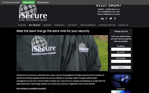 Screenshot of About Page isecure-uk.com - Meet the team that go the extra mile for your security - Security Company Kent - iSecure - captured Oct. 6, 2014
