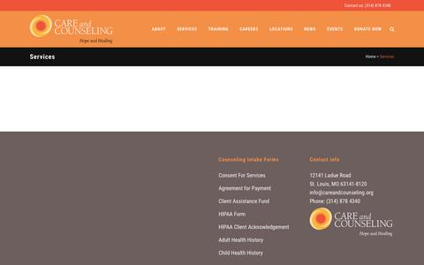 Screenshot of Services Page careandcounseling.org - Care and Counseling |   Services - captured Dec. 7, 2015