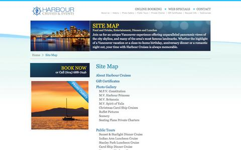 Screenshot of Site Map Page boatcruises.com - :: Welcome to Harbour Cruises :: - captured Oct. 2, 2014