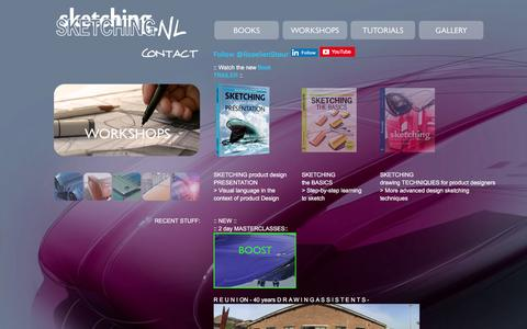 Screenshot of Home Page sketching.nl - S K E T C H I N G books, workshops and tutorials - id industrial design sketching by Koos Eissen and Roselien Steur - captured Dec. 9, 2015