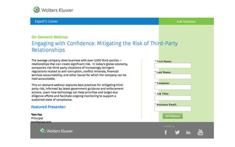 Screenshot of Landing Page datacert.com - Webinar: Mitigating the Risk of Third-Party Relationships - captured Aug. 17, 2016