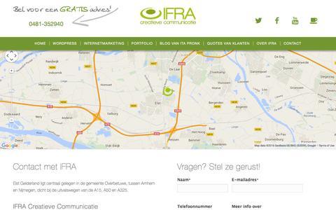 Screenshot of Contact Page ifra.nl - Waar kan ik IFRA uit Elst Gelderland (Overbetuwe) vinden? - captured Feb. 3, 2016