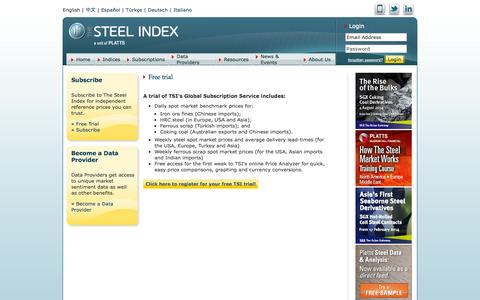 Screenshot of Trial Page thesteelindex.com - The Steel Index > Subscriptions > Free Trial Intro > Free trial - captured Oct. 9, 2014