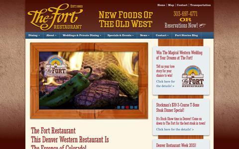 Screenshot of Home Page thefort.com - The Fort Restaurant - Denver's favorite western restaurant - captured Jan. 24, 2015
