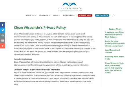 Screenshot of Privacy Page cleanwisconsin.org - Clean Wisconsin's Privacy Policy | Clean Wisconsin - captured Dec. 8, 2018