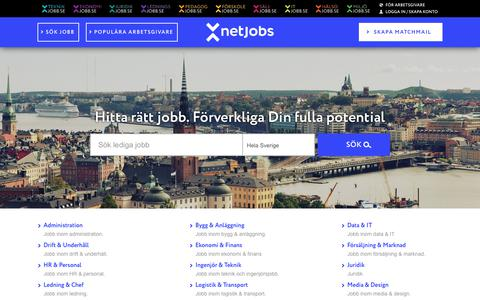 Screenshot of Home Page netjobs.com - Lediga jobb i hela Sverige - NetJobs - netjobs.com - captured Oct. 16, 2017