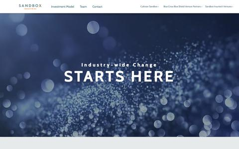 Screenshot of Home Page sandboxindustries.com - Venture Capital | Chicago, IL | Sandbox Industries - captured Nov. 6, 2018