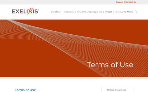 Screenshot of Terms Page exelixis.com - Terms of Use - Exelixis - captured July 23, 2018