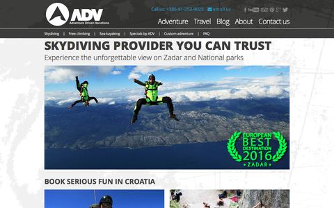 Screenshot of Home Page adventure-driven-vacations.com - Skydiving : Adrenaline tours Croatia : Book Serious Fun | ADV - captured July 24, 2016