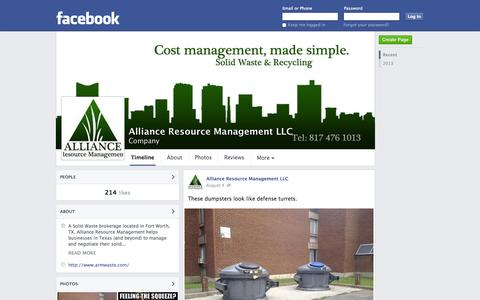 Screenshot of Facebook Page facebook.com - Alliance Resource Management LLC - Fort Worth, TX - Company | Facebook - captured Oct. 22, 2014