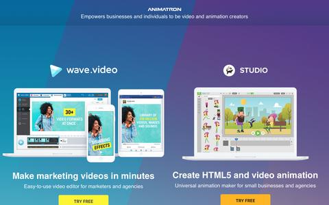 Screenshot of Home Page animatron.com - Marketing video editor and animation maker - captured March 3, 2019