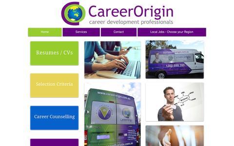 Screenshot of Home Page careerorigin.com.au - Career Origin - Resumes, Interview Training, Selection Criteria - captured March 3, 2016