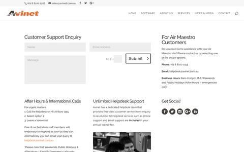 Screenshot of Support Page avinet.com.au - Customer Support - captured April 8, 2017