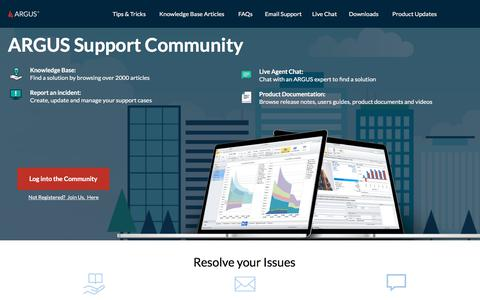 Screenshot of Support Page altusgroup.com - ARGUS Support | Community - captured Sept. 8, 2019