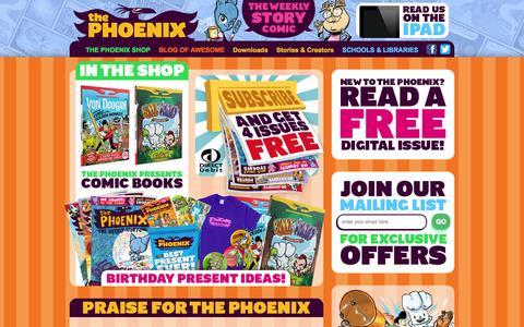 Screenshot of Home Page thephoenixcomic.co.uk - - The Phoenix Comic - captured Sept. 30, 2014
