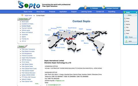 Screenshot of Contact Page sopto.com - Contact Sopto ShenZhen Sopto - captured Oct. 27, 2014