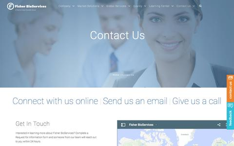 Screenshot of Contact Page fisherbioservices.com - Contact Us - captured Aug. 4, 2016