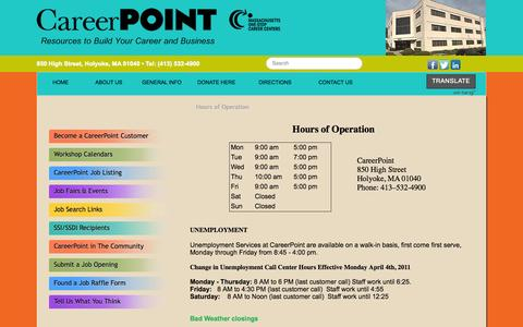 Screenshot of Hours Page careerpointma.org - CareerPointMA - Hours of Operation - captured Oct. 1, 2014