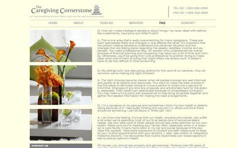 Screenshot of FAQ Page caregivingcornerstone.com - FAQ   The Caregiving Cornerstone - captured Sept. 29, 2014