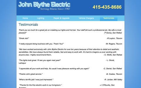 Screenshot of Testimonials Page johnblytheelectric.com - johnblytheelectric.com - Testimonials - captured Sept. 20, 2018