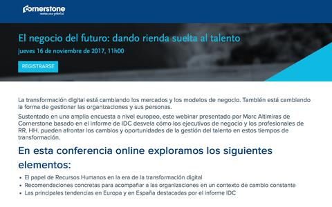 Screenshot of Landing Page cornerstoneondemand.com - Webinar - El negocio del futuro: dando rienda suelta al talento - captured March 4, 2018