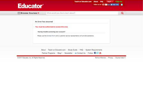 Screenshot of Signup Page educator.com - An Error has occurred - Educator.com - captured April 11, 2017