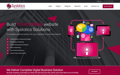 Screenshot of Home Page syslotics.com - Syslotics Solutions | Affordable High Quality Web Design | Software Development | Search engine optimization | Hosting Services Company in Lahore Pakistan - captured Aug. 12, 2015