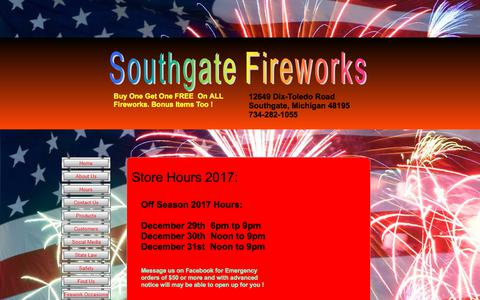 Screenshot of Hours Page southgatefireworks.com - Firework Store Hours - captured Feb. 15, 2018