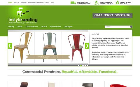 Screenshot of Home Page instyleseating.com.au - Buy Café & Commercial Furniture | Cafe Tables and Chairs| Tables & Restaurant FurnitureInstyle Seating - captured Sept. 30, 2014