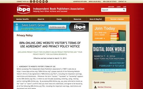 Screenshot of Privacy Page ibpa-online.org - Privacy Policy - captured Jan. 20, 2016