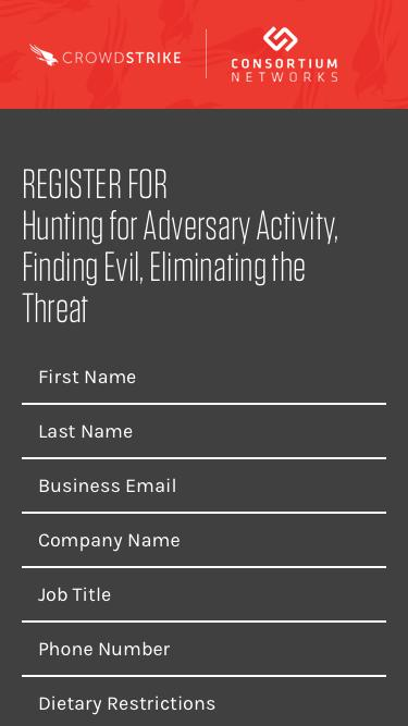Register for Hunting for Adversary Activity, Finding Evil, Eliminating the Threat