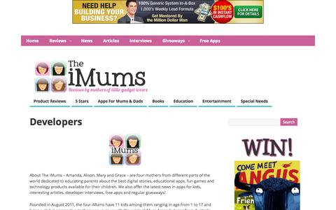Screenshot of Developers Page theimum.com - Developers @  The iMums - captured Sept. 19, 2014