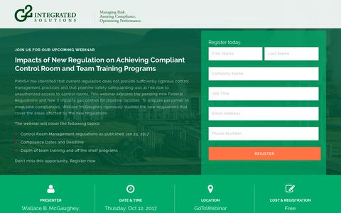 Screenshot of Signup Page g2-is.com - Webinar: Compliant Control Room New Regulation and Team Training - captured Oct. 14, 2017