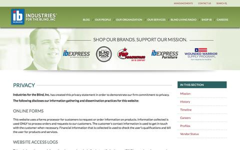 Screenshot of Privacy Page ibmilw.com - Privacy | IB Milwaukee - Industries for the Blind - captured Sept. 25, 2014