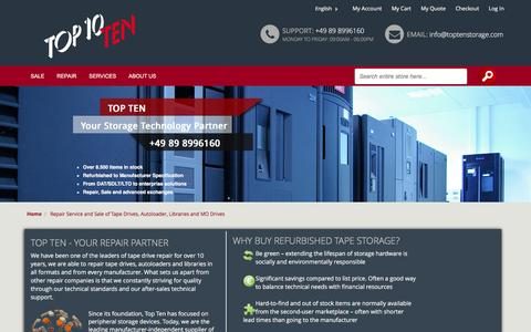 Screenshot of Home Page toptenstorage.co.uk - Repair Service and Sale of Tape Drives, Autoloader, Libraries and MO Drives - captured Feb. 17, 2016