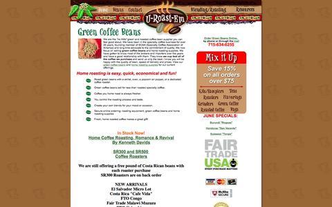 Screenshot of Home Page u-roast-em.com - Green Coffee Beans | Home Roasting Supplies, U-Roast-Em - captured June 16, 2016