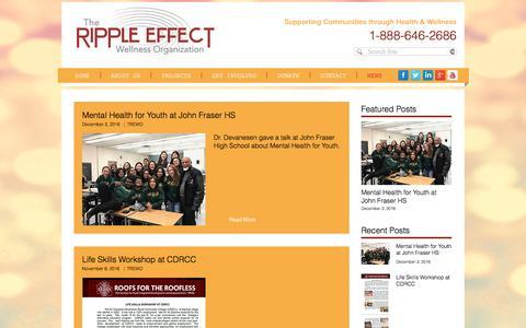 Screenshot of Press Page trewo.org - The Ripple Effect Wellness Organization TREWO | NEWS - captured Dec. 23, 2016