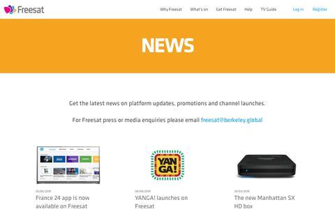 Screenshot of Press Page freesat.co.uk - Freesat - Freesat News - the latest updates from Freesat - captured Aug. 29, 2018