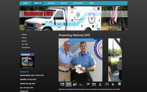 Screenshot of About Page nationalems.com - National EMS - About Us - captured Oct. 7, 2014