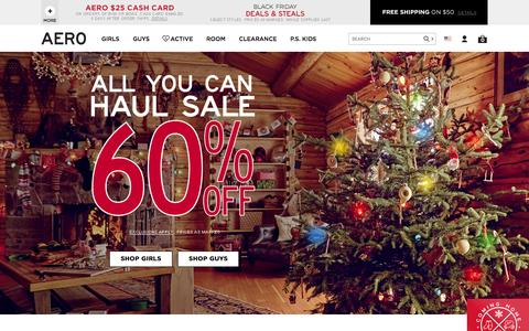 Screenshot of aeropostale.com - Guys & Girls Clothes, Hoodies, Graphic Tees & Jeans | Aeropostale - captured Nov. 25, 2015