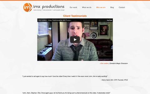 Screenshot of Testimonials Page imxproductions.com - Ottawa video production client testimonials - captured Sept. 30, 2014