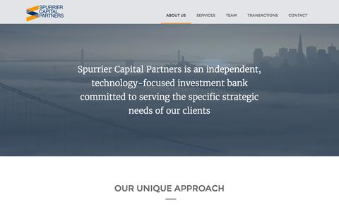 Screenshot of About Page spurriercp.com - about us | Spurrier Capital Partners - captured Feb. 24, 2016
