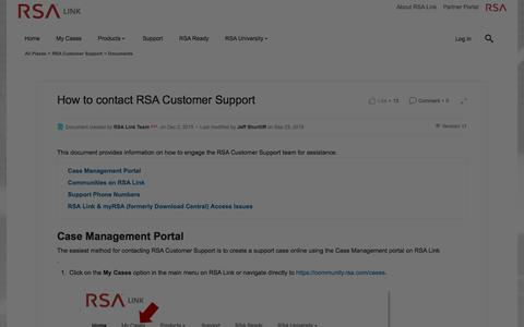 Screenshot of Developers Page rsa.com - How to contact RSA Customer Support | RSA Link - captured Dec. 12, 2019